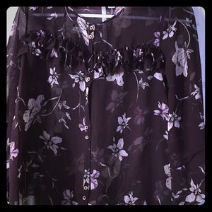 Size S Lauren Conrad  purple sheer w/pink flowers